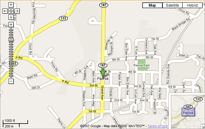 Map of Paonia, CO courtesy of Google Maps.
