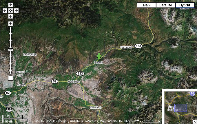 Map of Western Colorado and Paonia, CO courtesy of Google Maps.