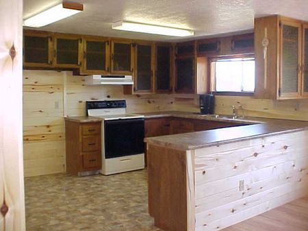 Spacious 14'5 x 10'7 kitchen includes appliances (stove and dishwasher). Plenty of counterspace and cabinets too! Beautiful Aspen Paneling throughout and brand new counter tops! Look out your kitchen window at the amazing views!